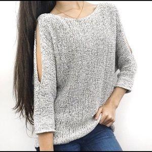 Lou & Grey Split Open Cold Shoulder Knit Sweater-S